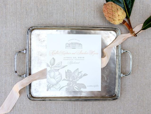 Timeless Southern Magnolia Wedding Invitations by Tenn Hens Design