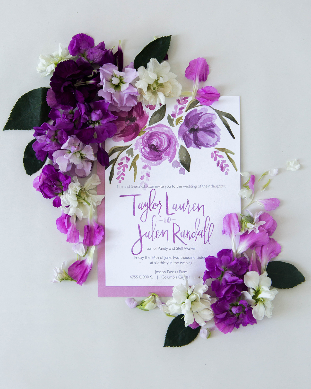 Vibrant Purple Floral Watercolor Wedding Invitations