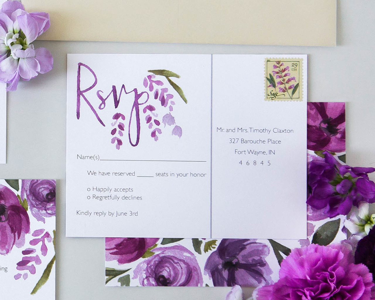 Vibrant Purple Floral Watercolor Wedding Invitations by Sommer Letter Co.