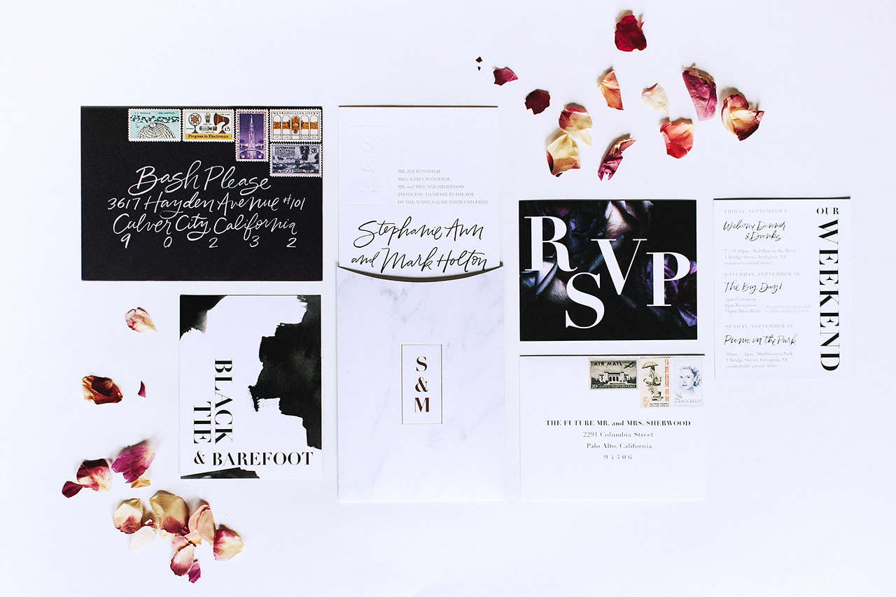 Backyard Black Tie Wedding Invitations