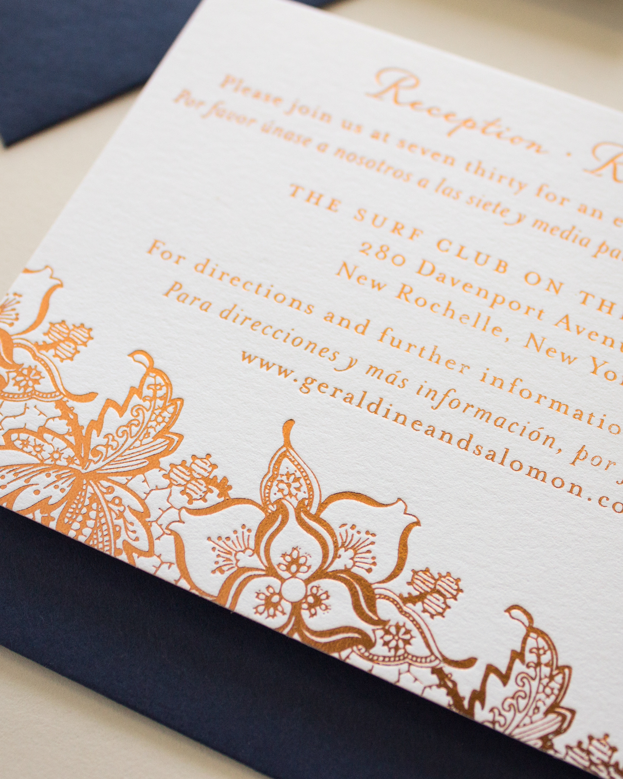 Bilingual Copper Foil and Blind Letterpress Wedding Invitations by Banter and Charm