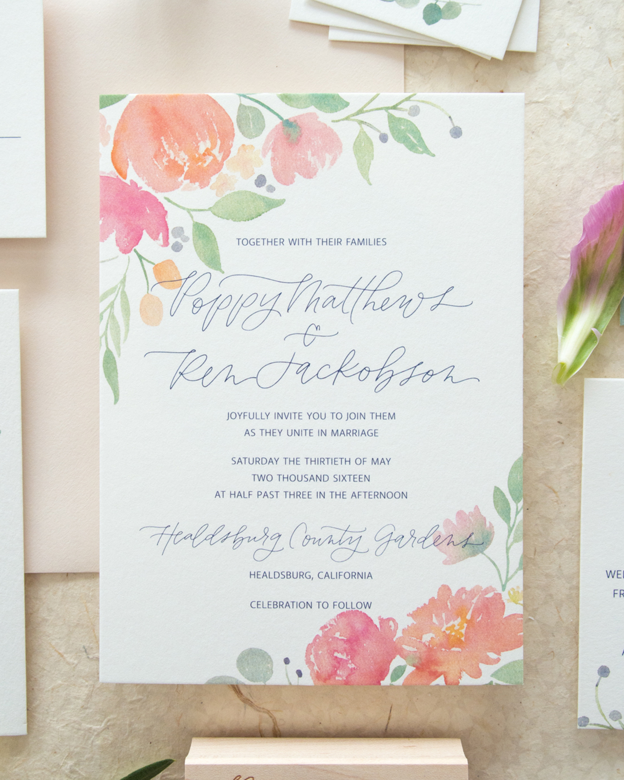 Whimsical Poppy And Eucalyptus Watercolor Wedding Invitations By Bright Room Studio