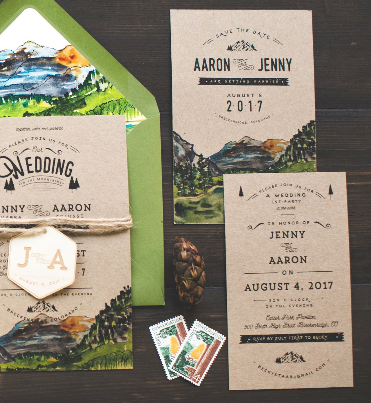 Woodsy Illustrated Wedding Invitations by Wide Eyes Paper Co