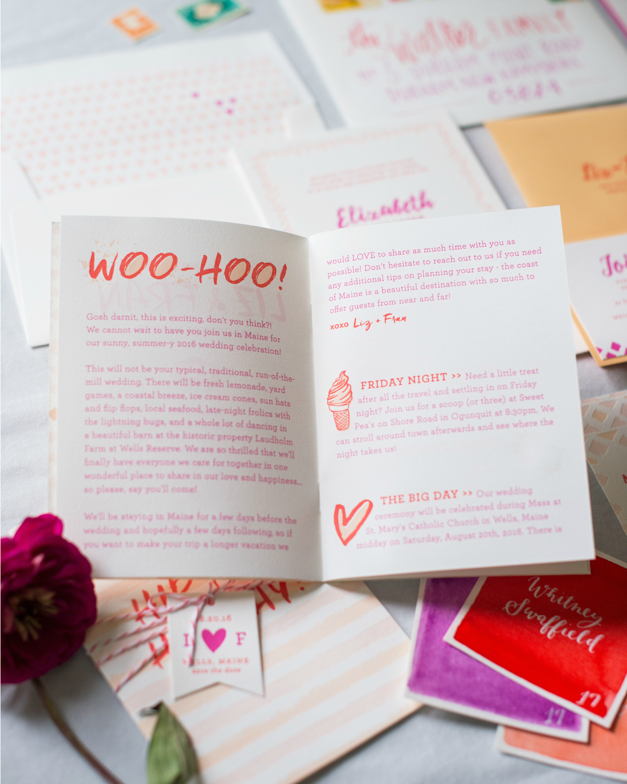 Colorful Patterned Letterpress Wedding Invitations by Gus and Ruby Letterpress