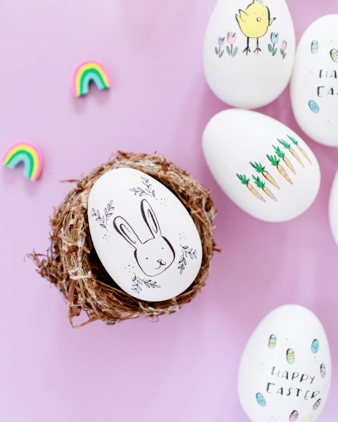 DIY Illustrated Temporary Tattoo Easter Eggs