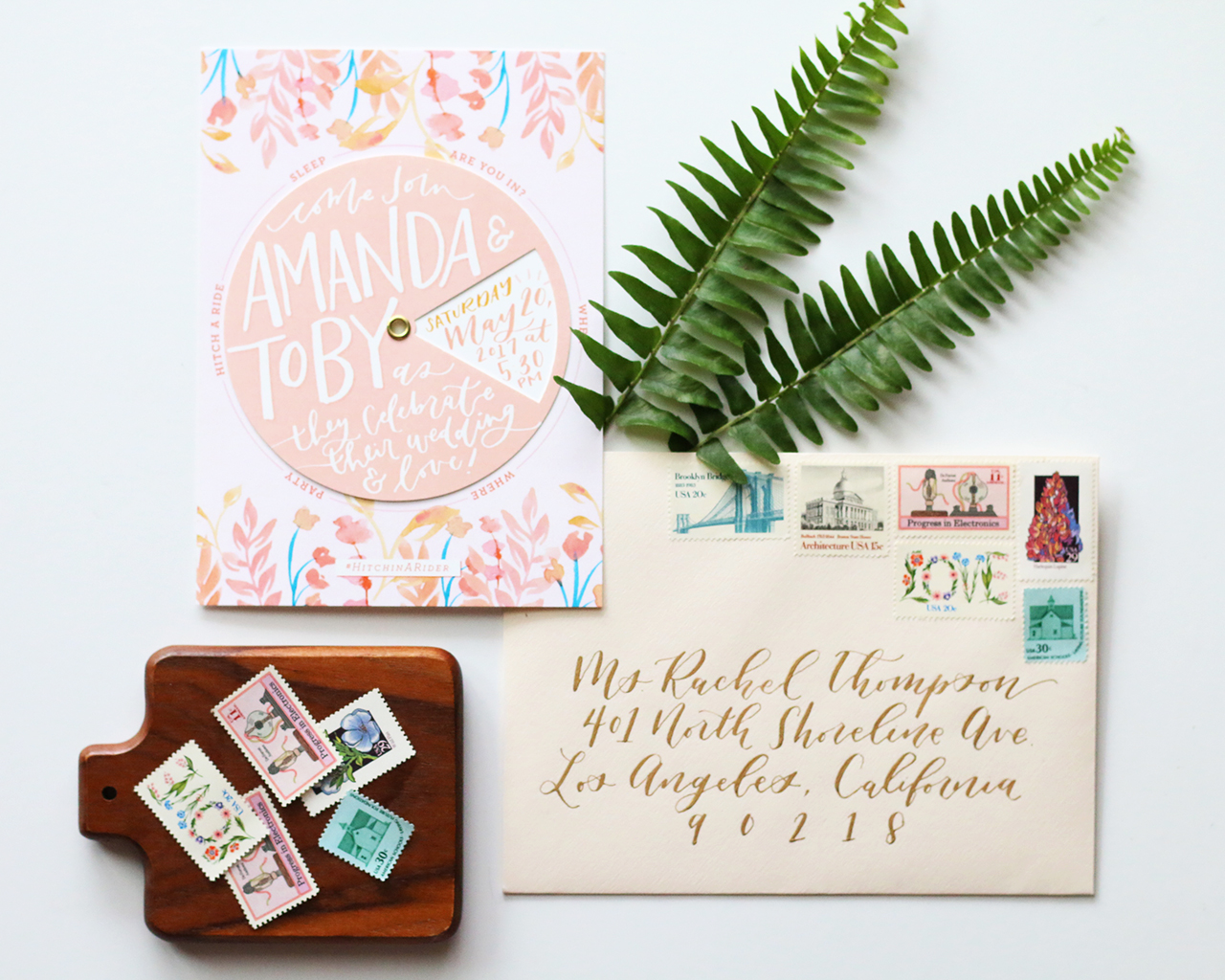 Playful Floral Pinwheel Wedding Invitations by Goldie Design Co.