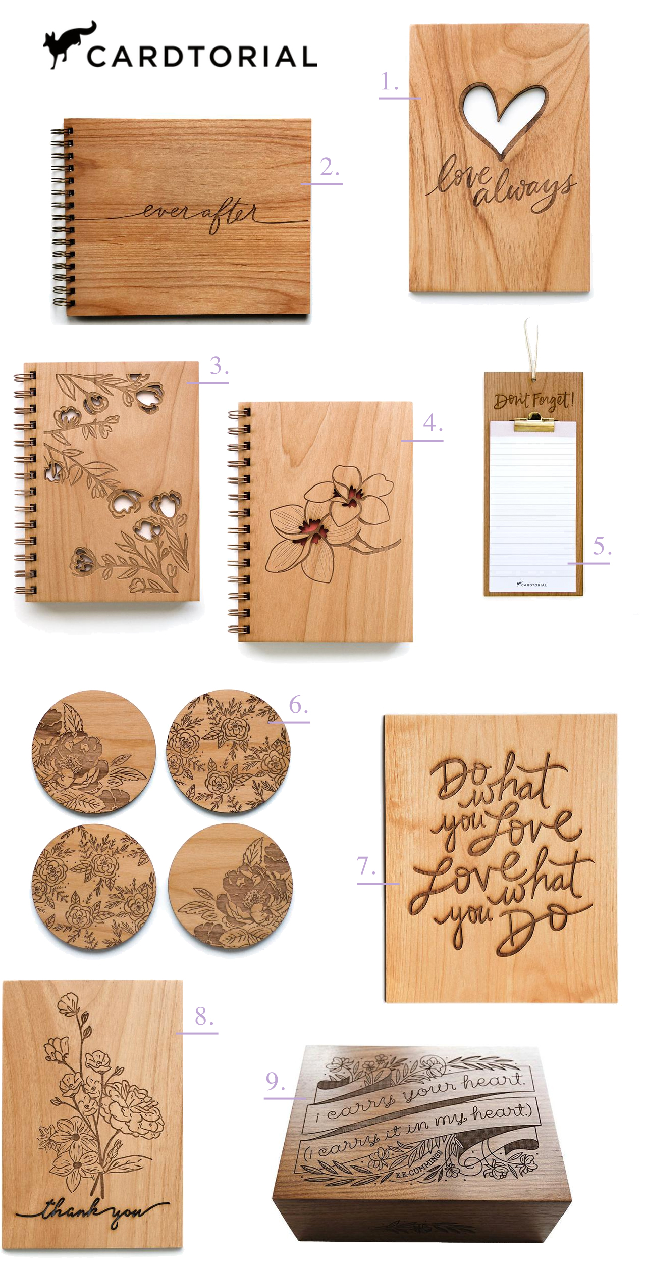 Cardtorial Wooden Gifts and Keepsake Stationery