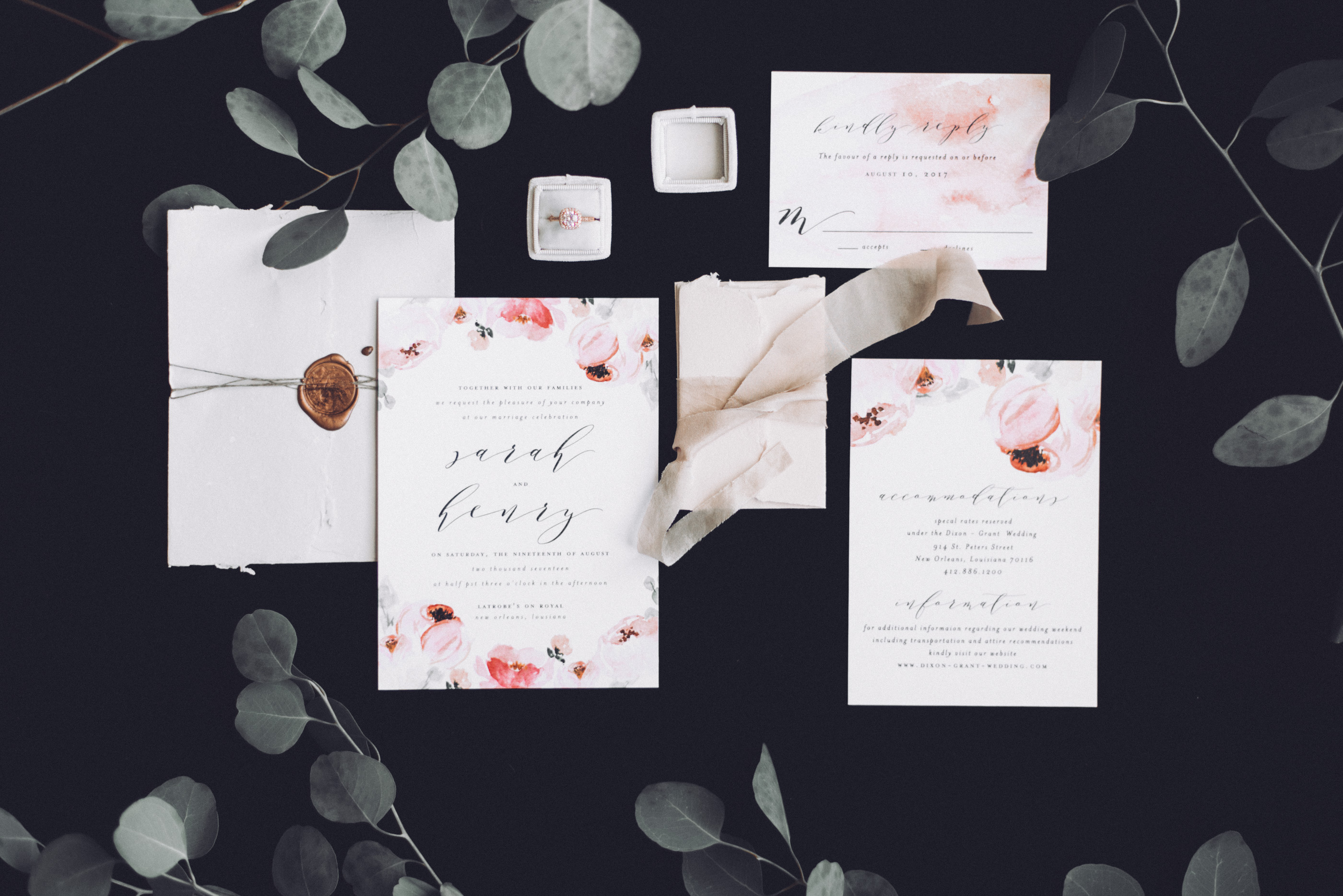 Romantic Watercolor Floral Wedding Invitations by Blush Paper Co.