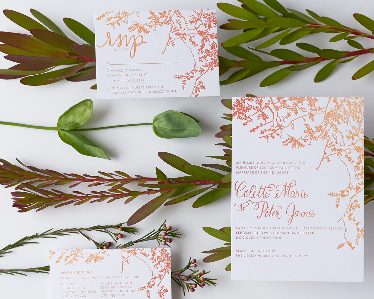 Autumn Ombré Letterpress Wedding Invitations