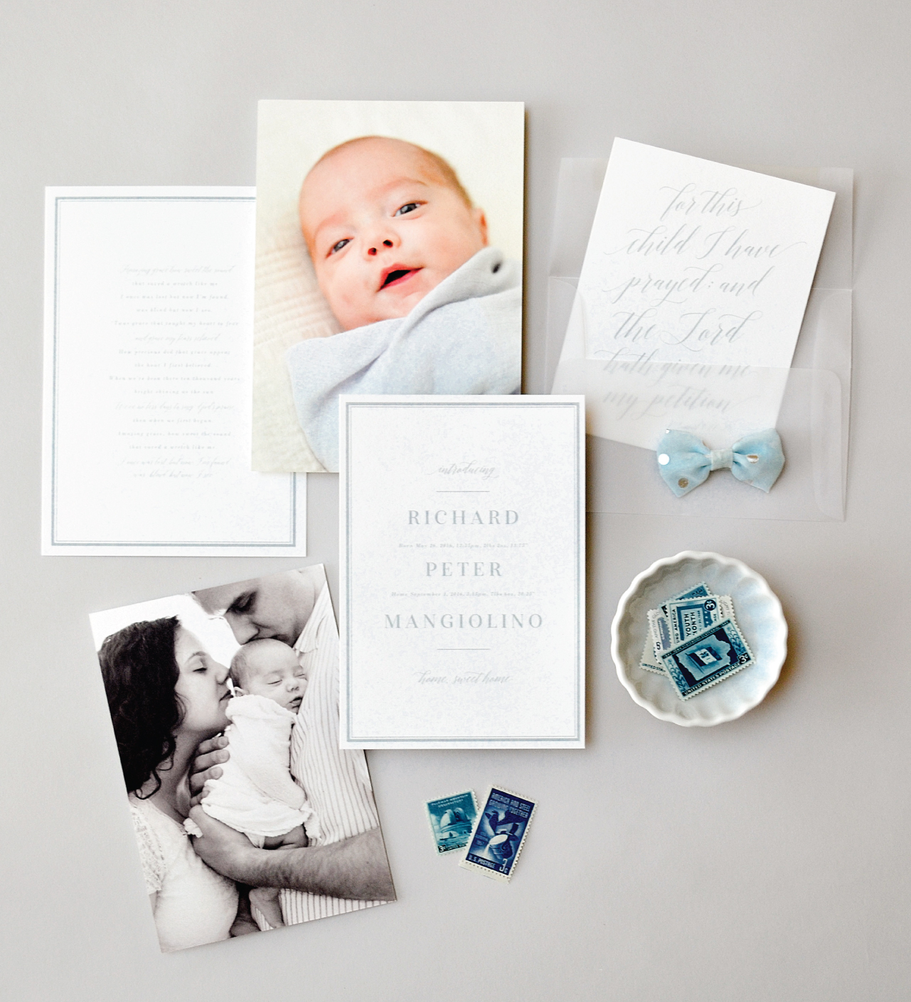 Refined Powder Blue and Vellum Baby Announcements