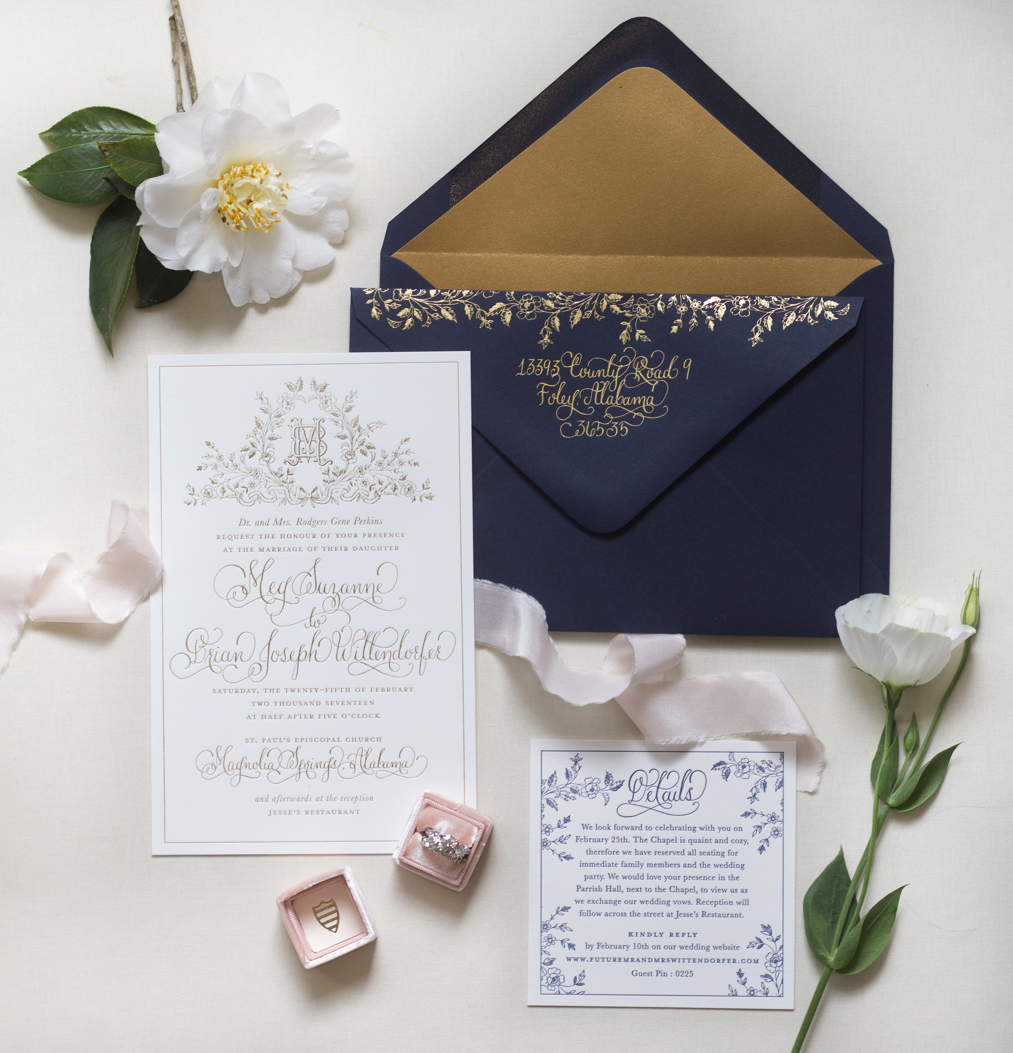 Regal navy and gold foil calligraphy wedding invitations regal navy and gold foil calligraphy wedding invitations by kara anne paper stopboris