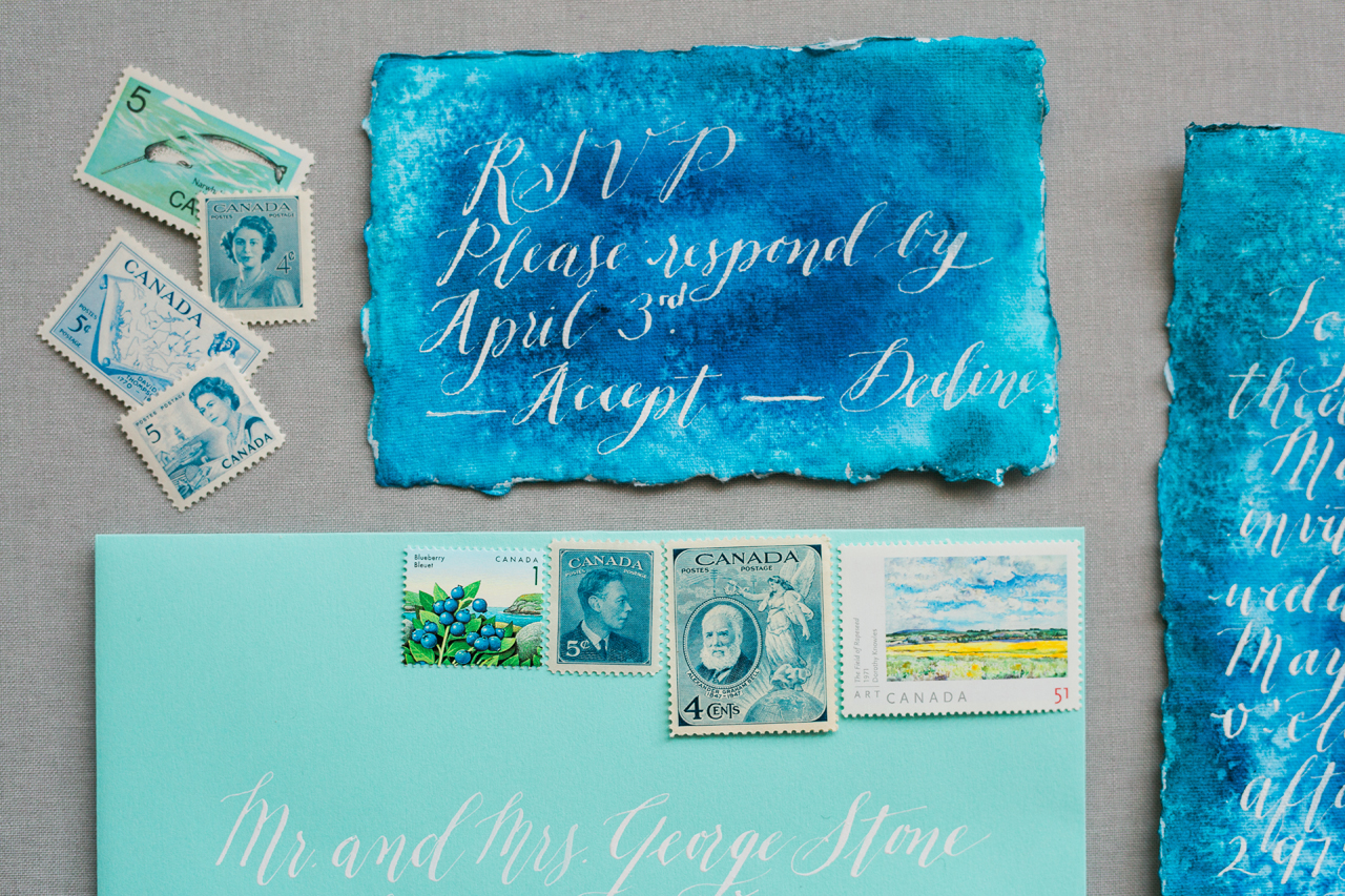 Blue Agate-Inspired Watercolor Wedding Invitations by Debbie Wong Design