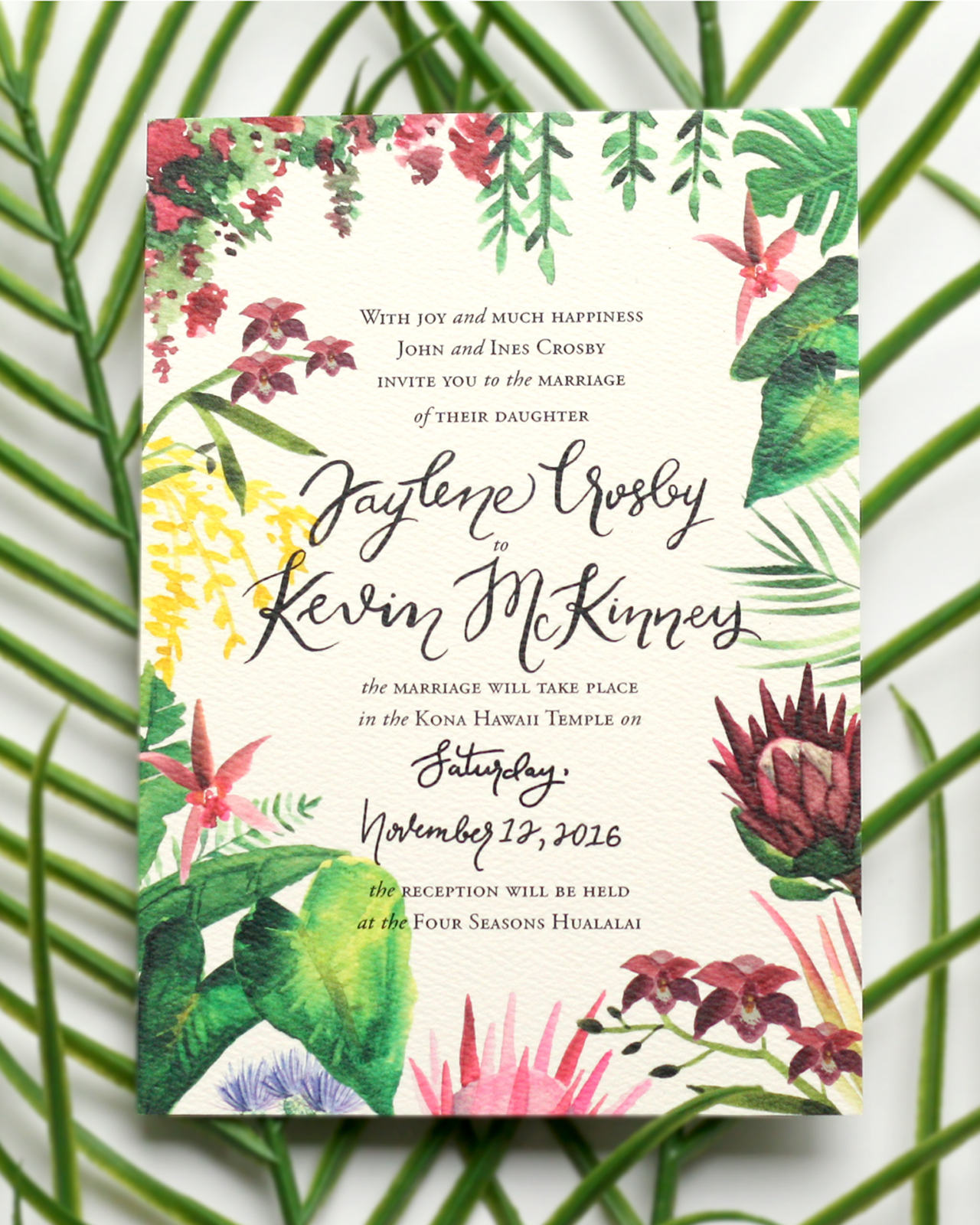 Illustrated Tropical Hawaiian Wedding Invitations by Honey Brush Design