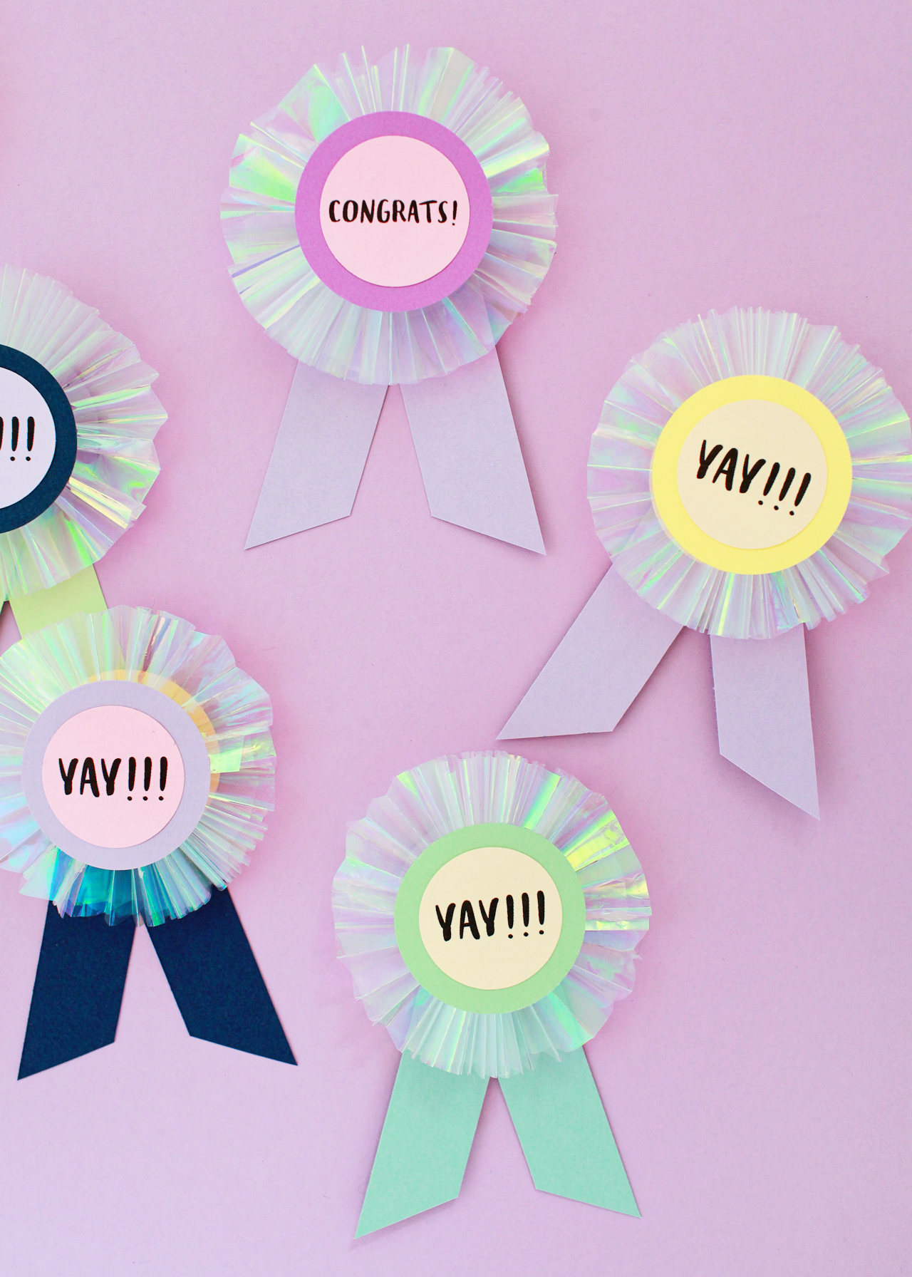 DIY Iridescent Paper Prize Ribbons
