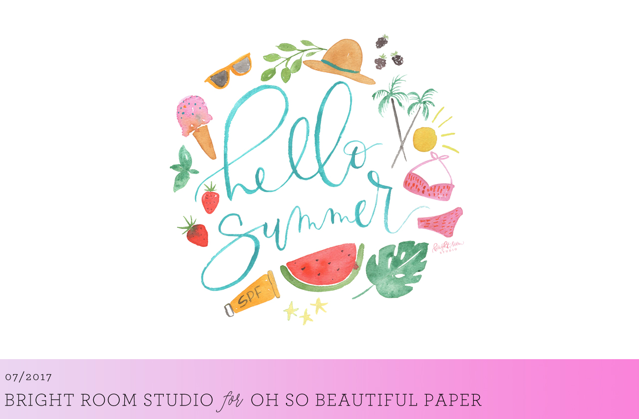 Hello Summer Illustrated Wallpaper by Bright Room Studio for Oh So Beautiful Paper
