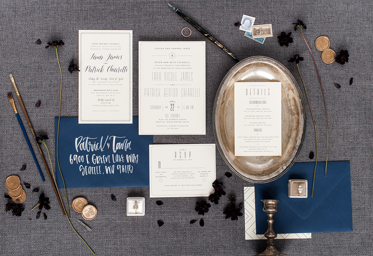 Navy and White Modern Eclectic Wedding Invitations by Robinson Paperie