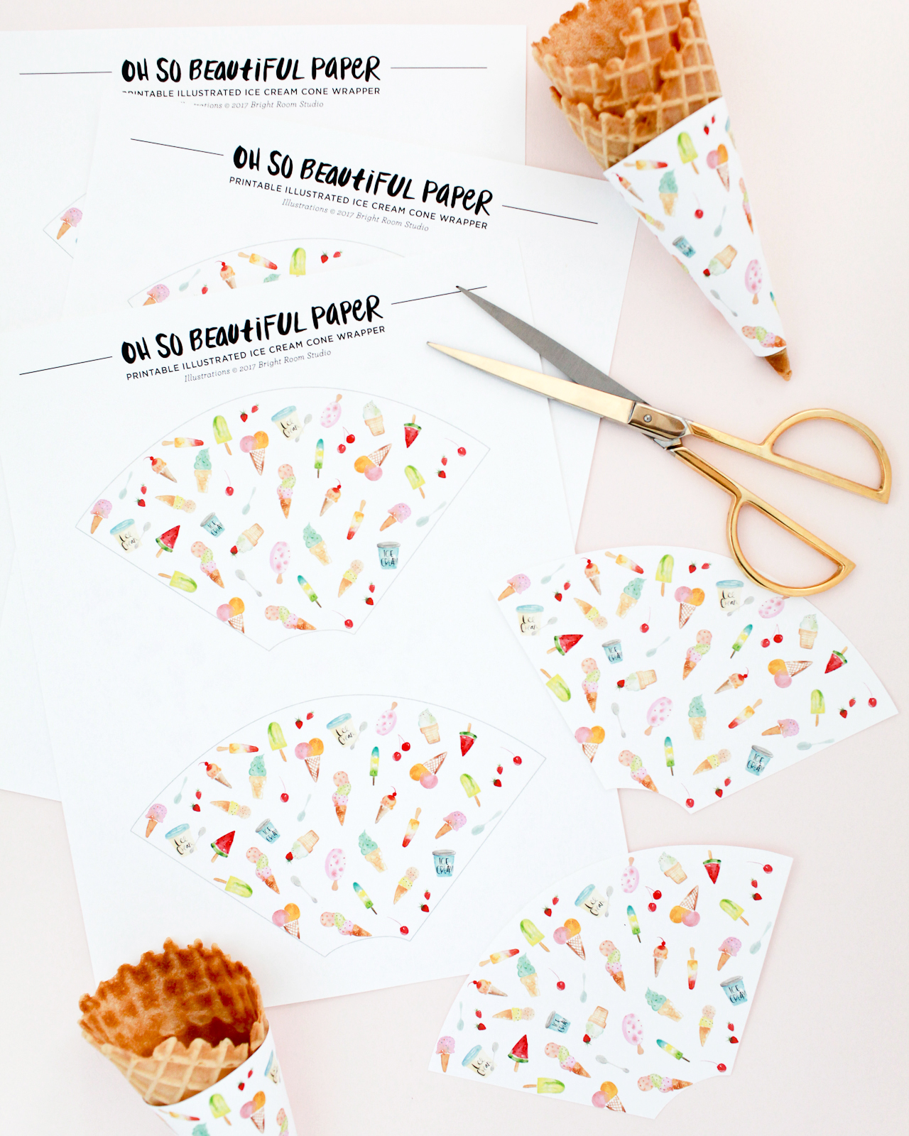Printable Illustrated Ice Cream Cone Wrappers