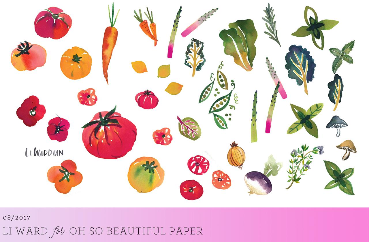 Watercolor Farmer's Market Wallpaper by Li Ward for Oh So Beautiful Paper