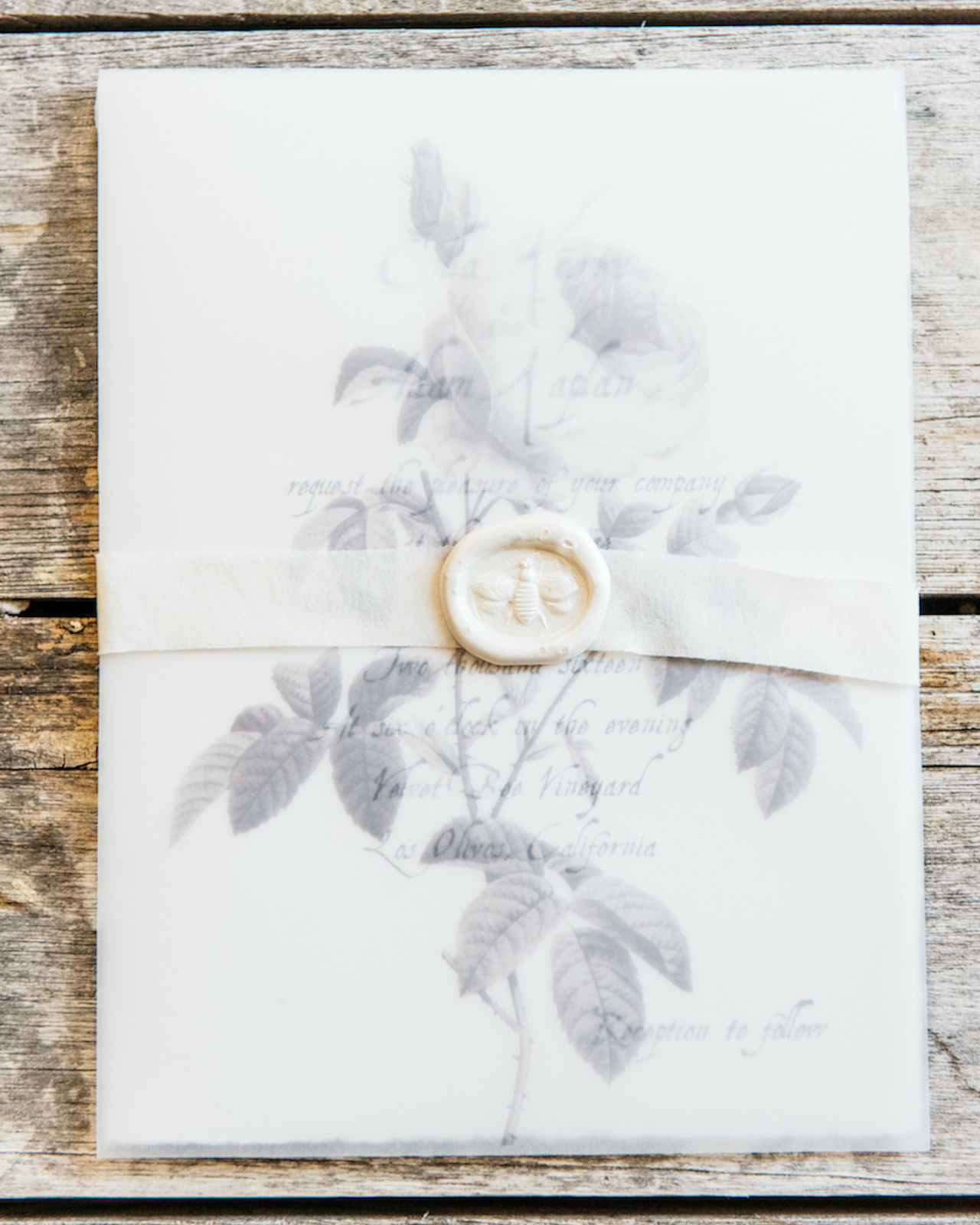Gray Vellum Wine Country Wedding Invitations