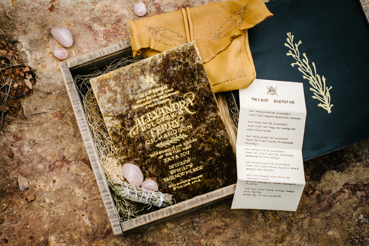 Southwestern Mixed Media Wedding Invitations by Ladyfingers Letterpress