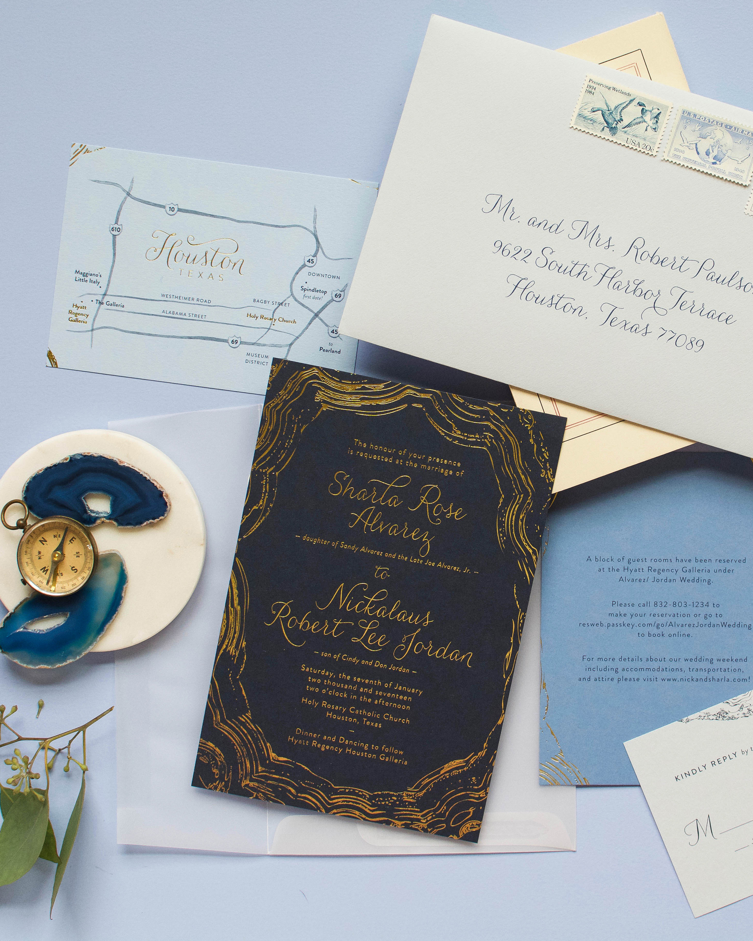Navy and Gold Foil Agate-Inspired Wedding Invitations by Anticipate Invitations
