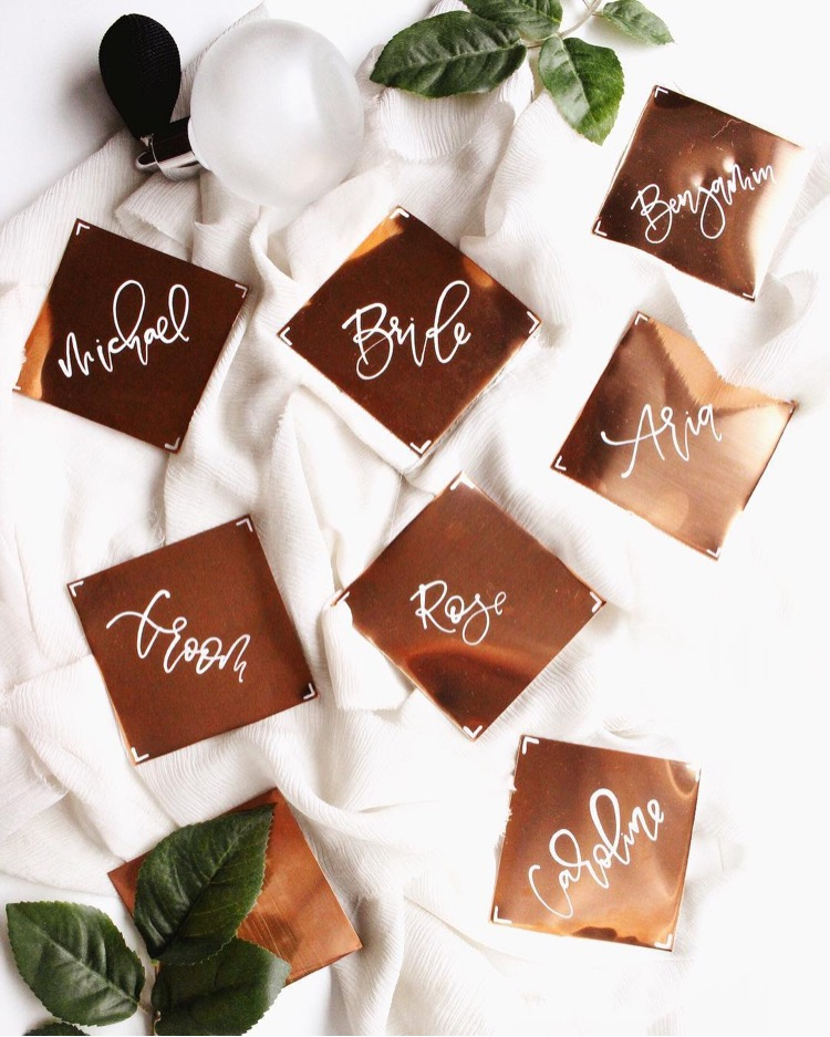 Pink + Peach Copper Place Cards
