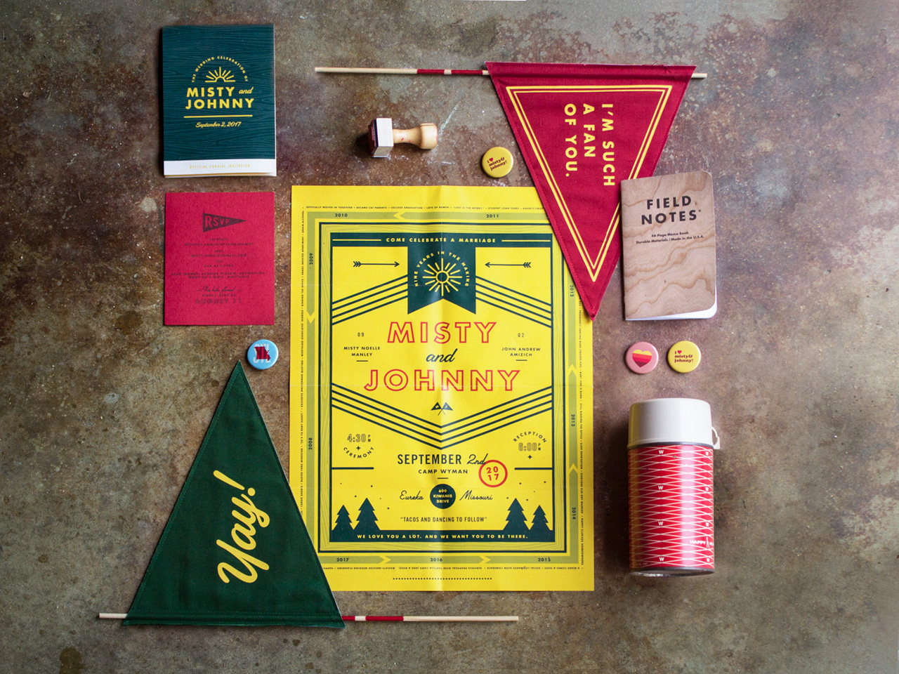 Quirky Camp-Theme Wedding Invitations by Misty Manley