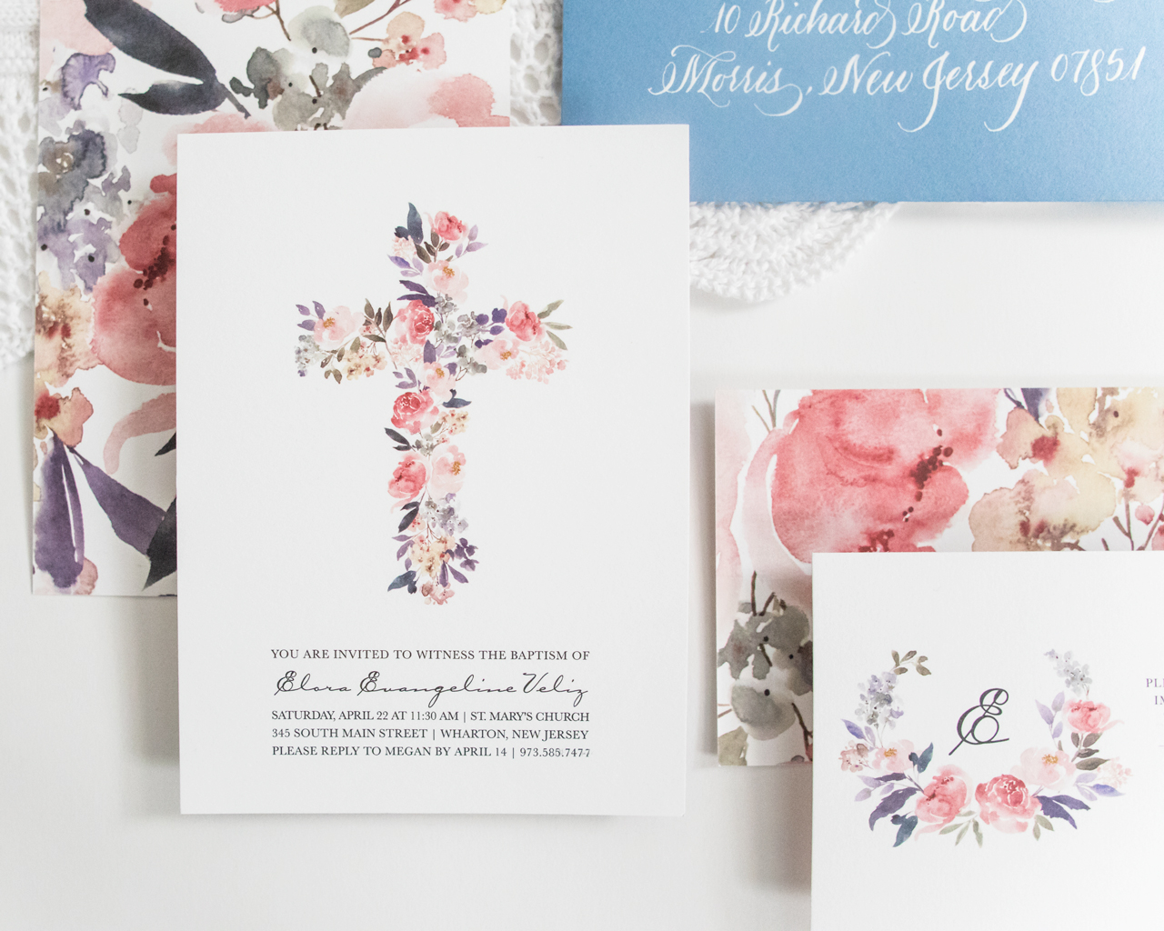 Watercolor Floral Baptism Invitations