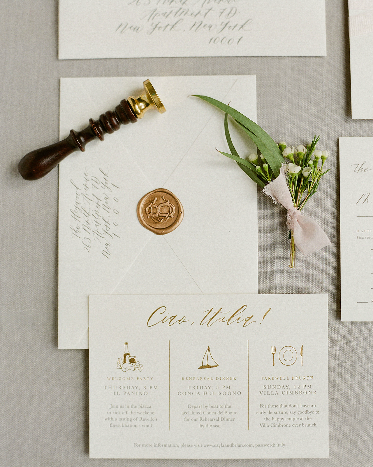 Classic Neutral Italian Destination Wedding Invitations by Fourteen Forty