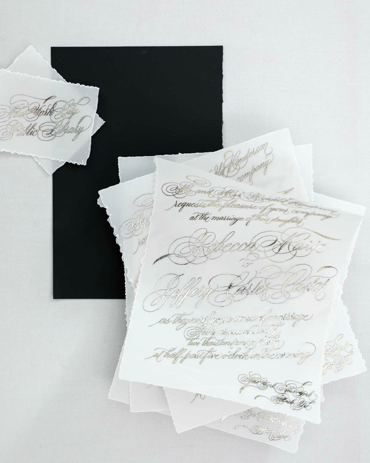 Black and White Calligraphy and Watercolor Wedding Invitations by Design House of Moira