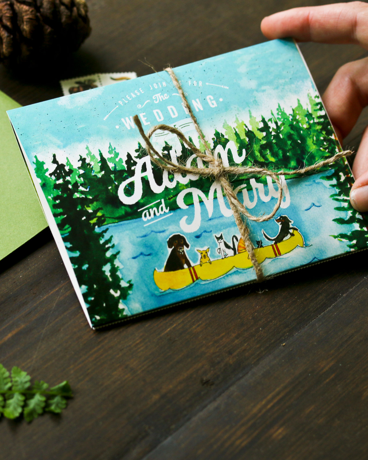 Quirky Camping-Inspired Watercolor Wedding Invitations by Wide Eyes Paper Co.