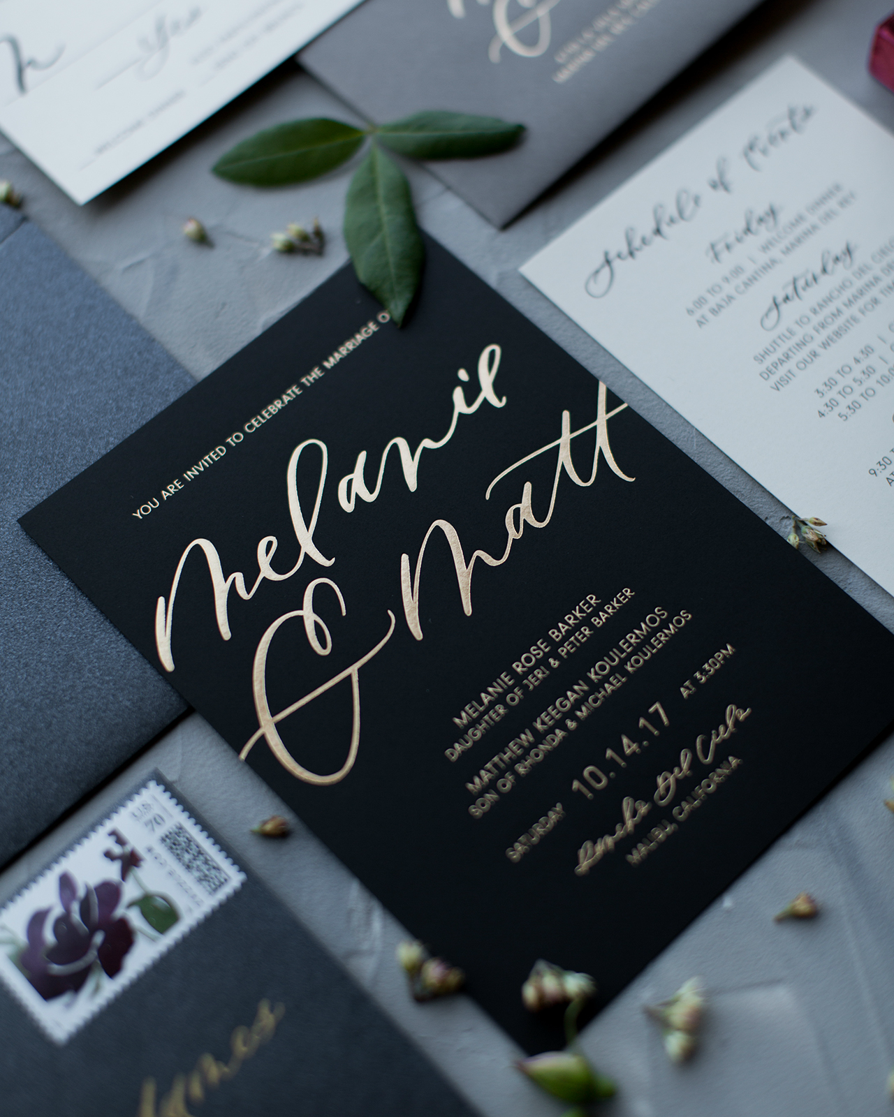 Glamorous Mixed Metals Wedding Invitations by Twinkle and Toast