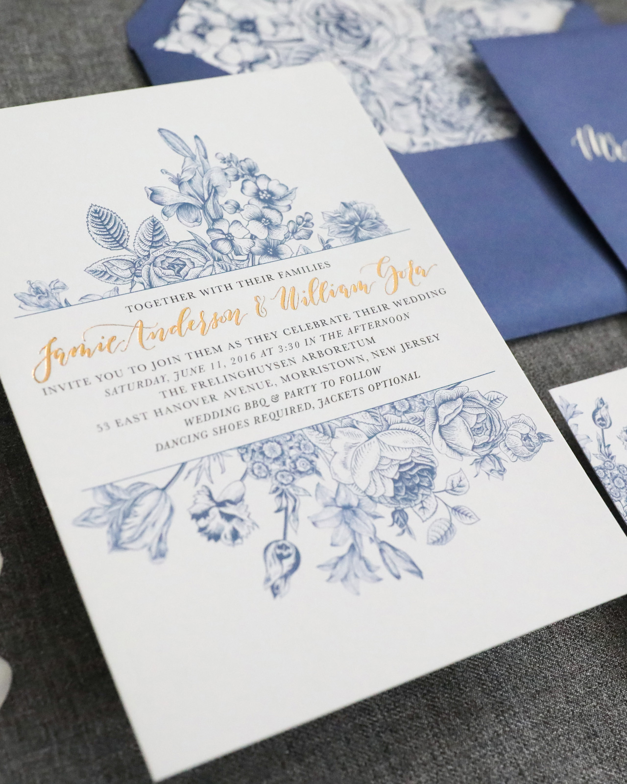 chinoiserie inspired blue and white wedding invitations