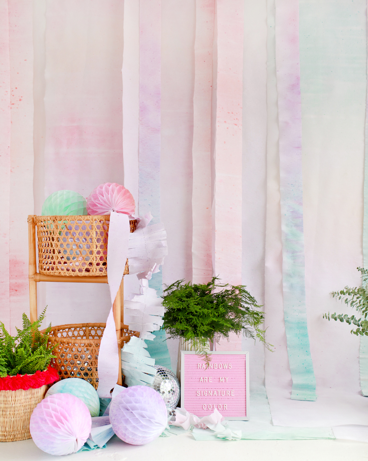 DIY Rainbow Watercolor Paper Backdrop