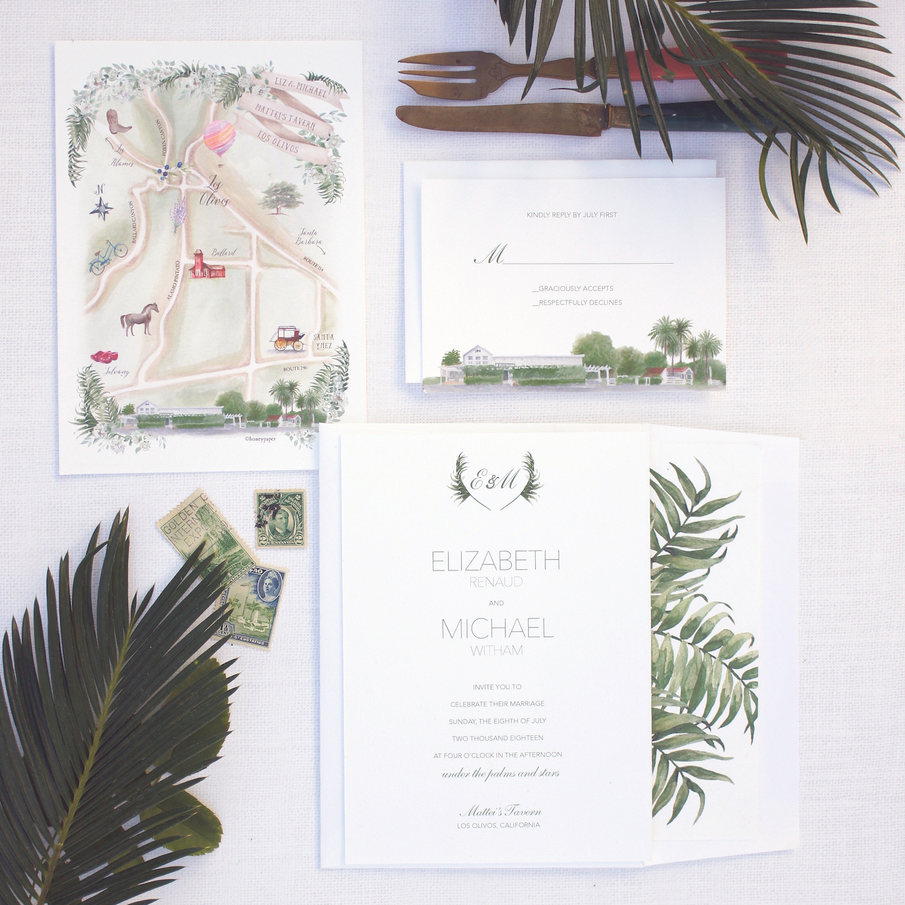 Los Olivos Illustrated Watercolor Wedding Invitations by Honey Paper