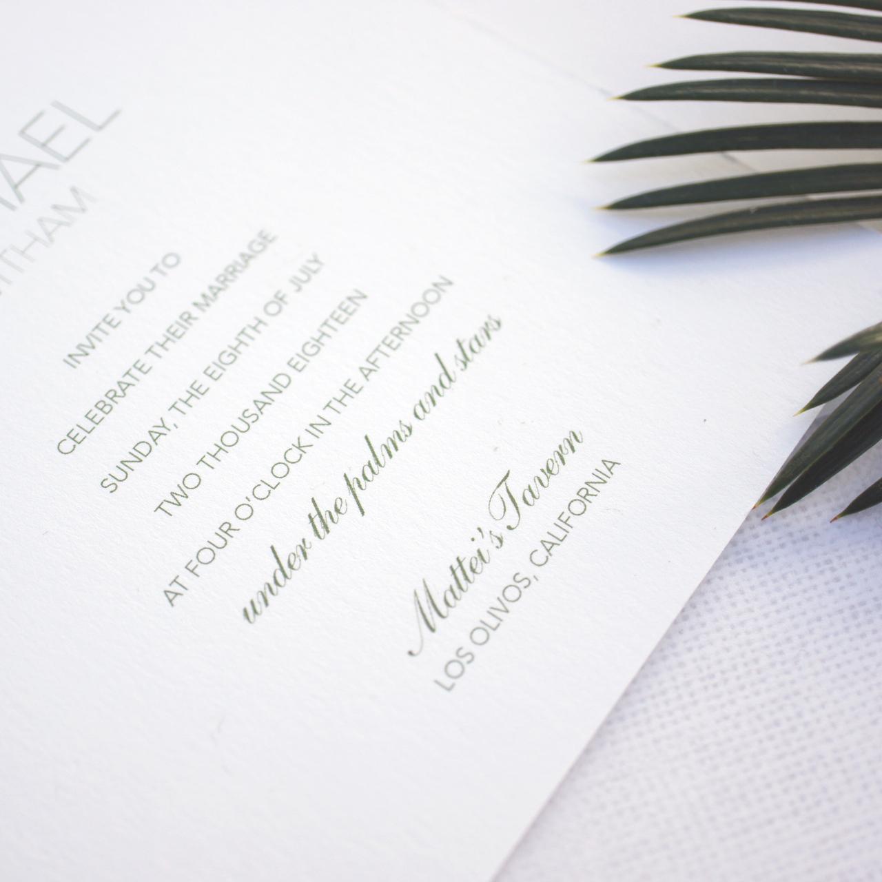 Los Olivos Illustrated Watercolor Wedding Invitations by Honey Paper