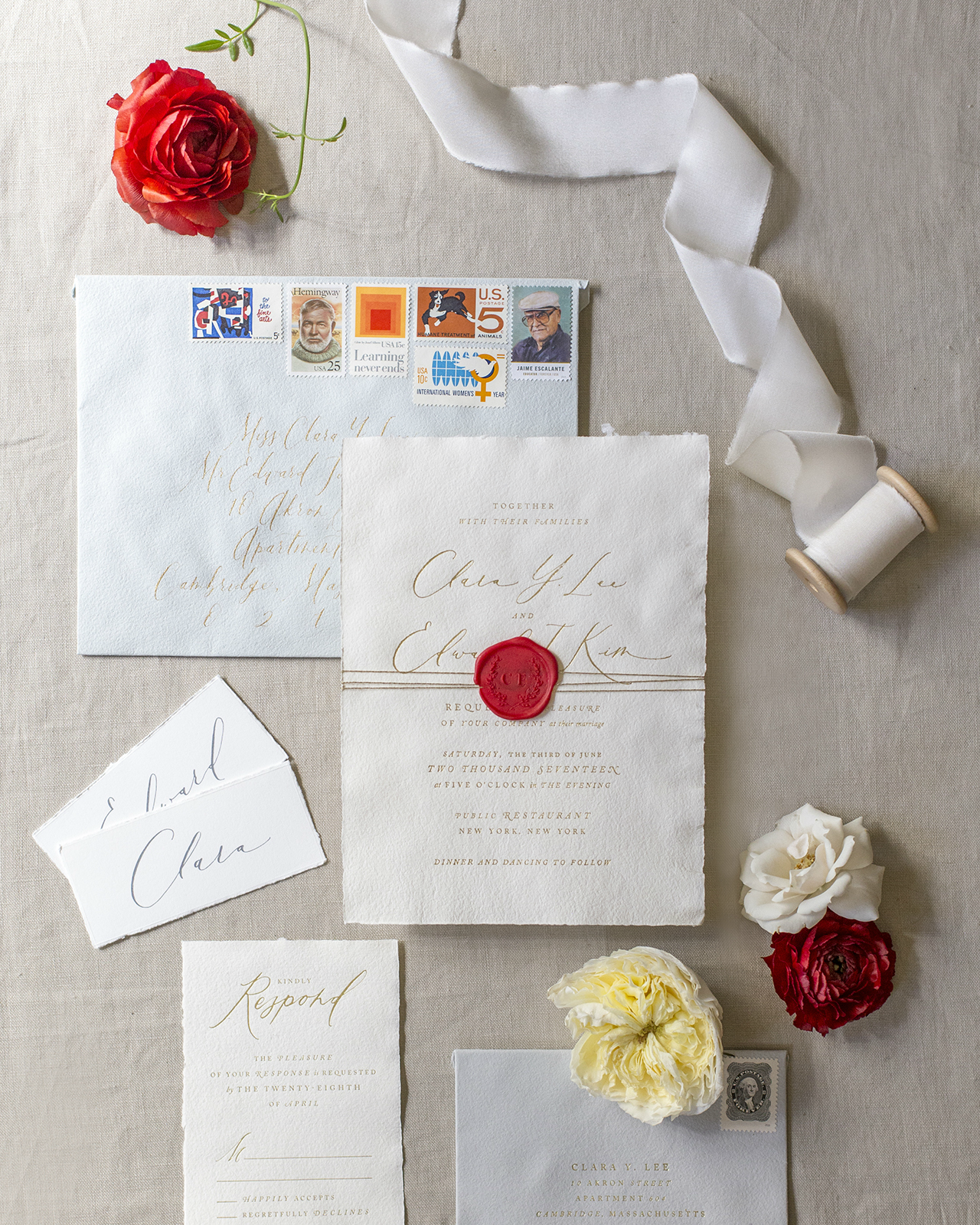 Romantic Deckle Edge Wedding Invitations with Red Wax Seal