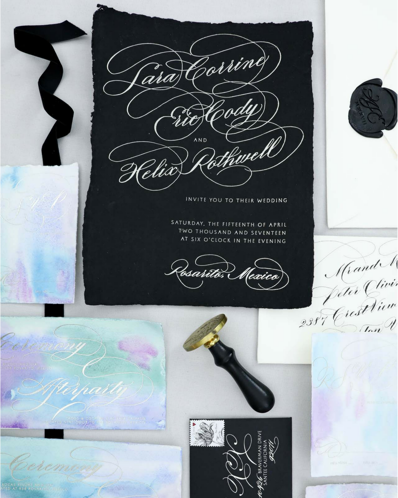 Dramatic Black Meets Romantic Mermaid Wedding Invitations By Design House  Of Moira