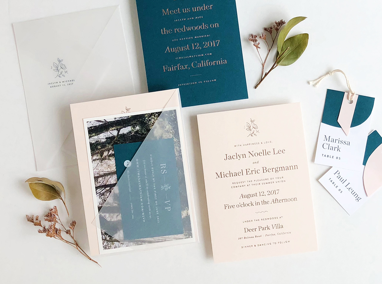 Understated Teal and Blush Wedding Invitations by Design by Jaclyn