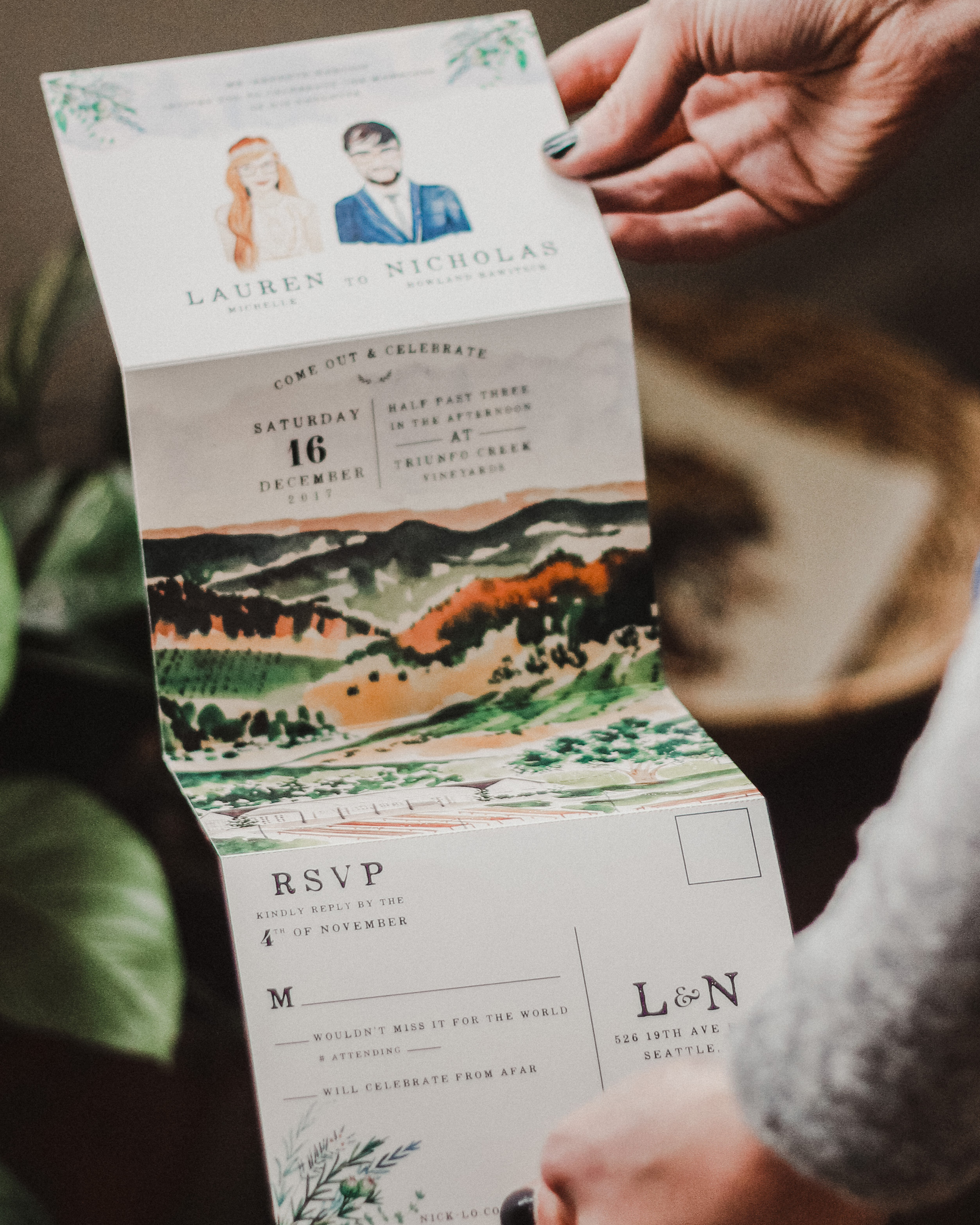 Fold Out Watercolor Wedding Invitations
