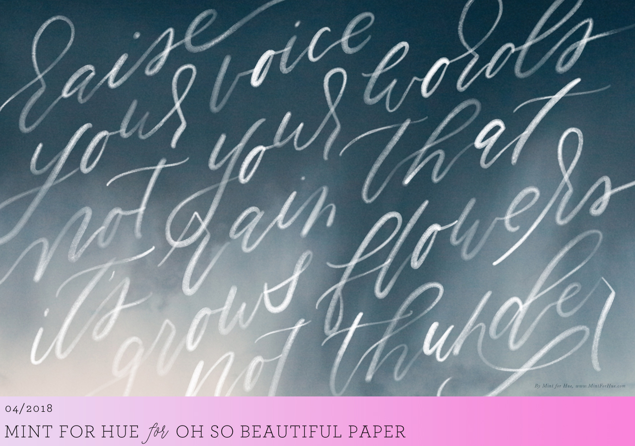 Calligraphy Wallpaper / Mint for Hue for Oh So Beautiful Paper
