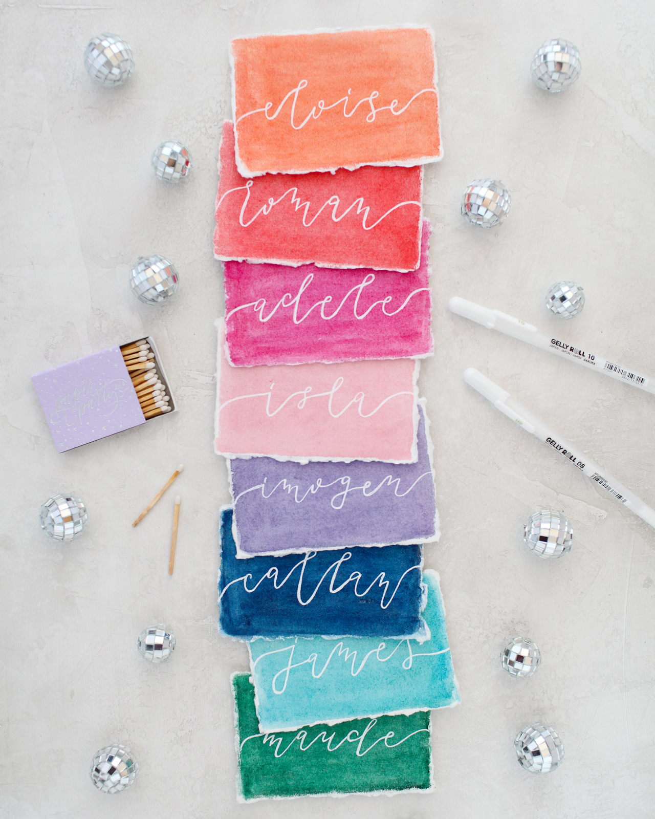 Rainbow Watercolor Wedding Stationery Inspiration with Sakura Koi Watercolors and White Gelly Roll Pens