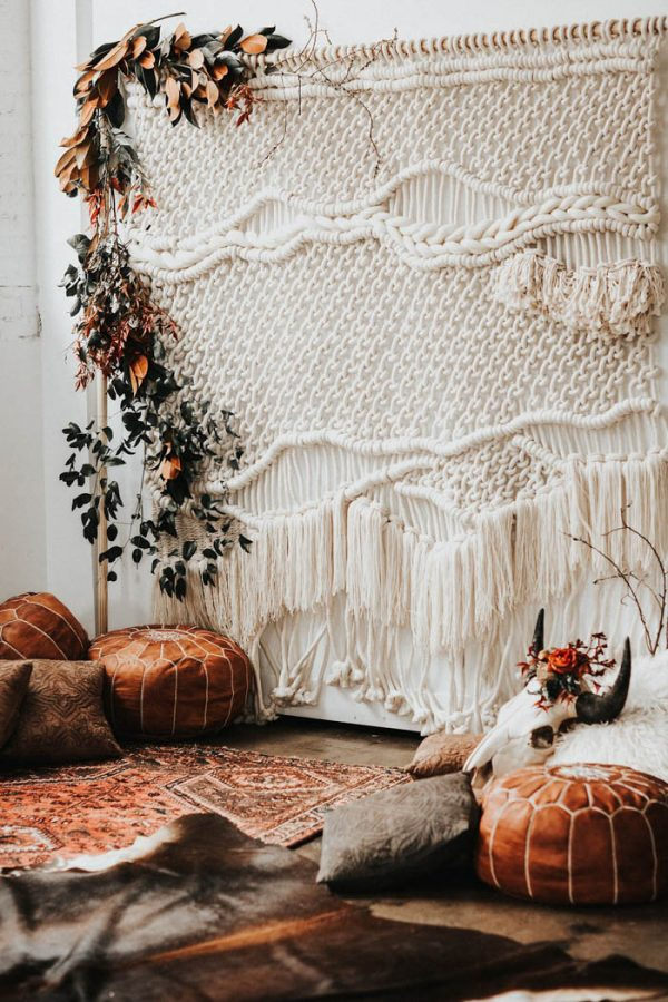 Macramé Wedding Ceremony Backdrop / Photo Credit: Monique Serra Photography via Junebug Weddings
