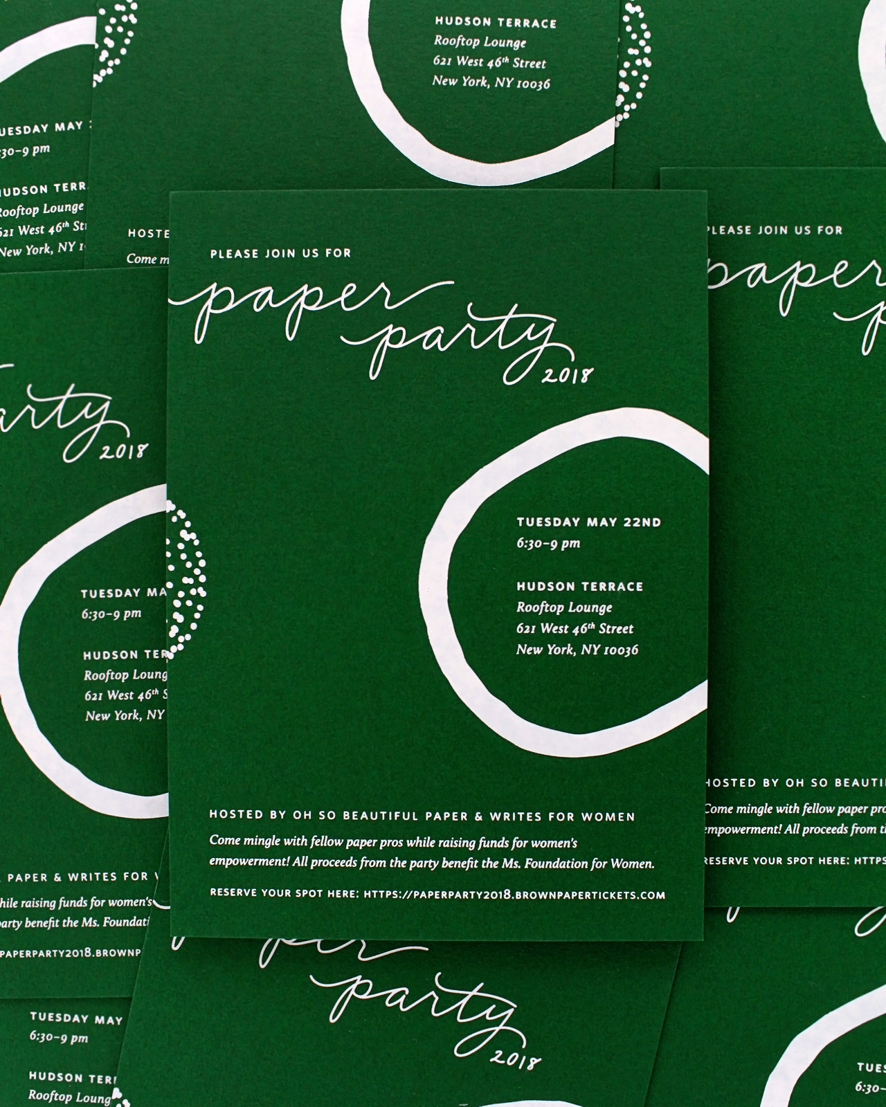 Paper Party 2018 Modern Minimalist Invitations with Abstract Shapes / Design by Ramona & Ruth / Printed by Bella Figura on Legion Paper Colorplan Forest Green