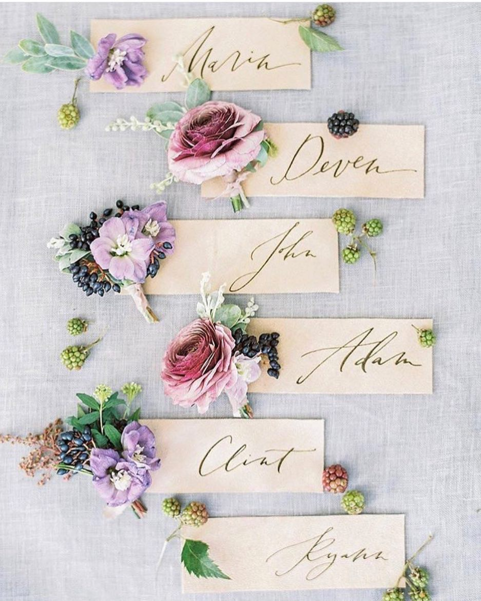 Calligraphy Place Cards by Script Merchant / Photo Credit: Kayla Barker Photography