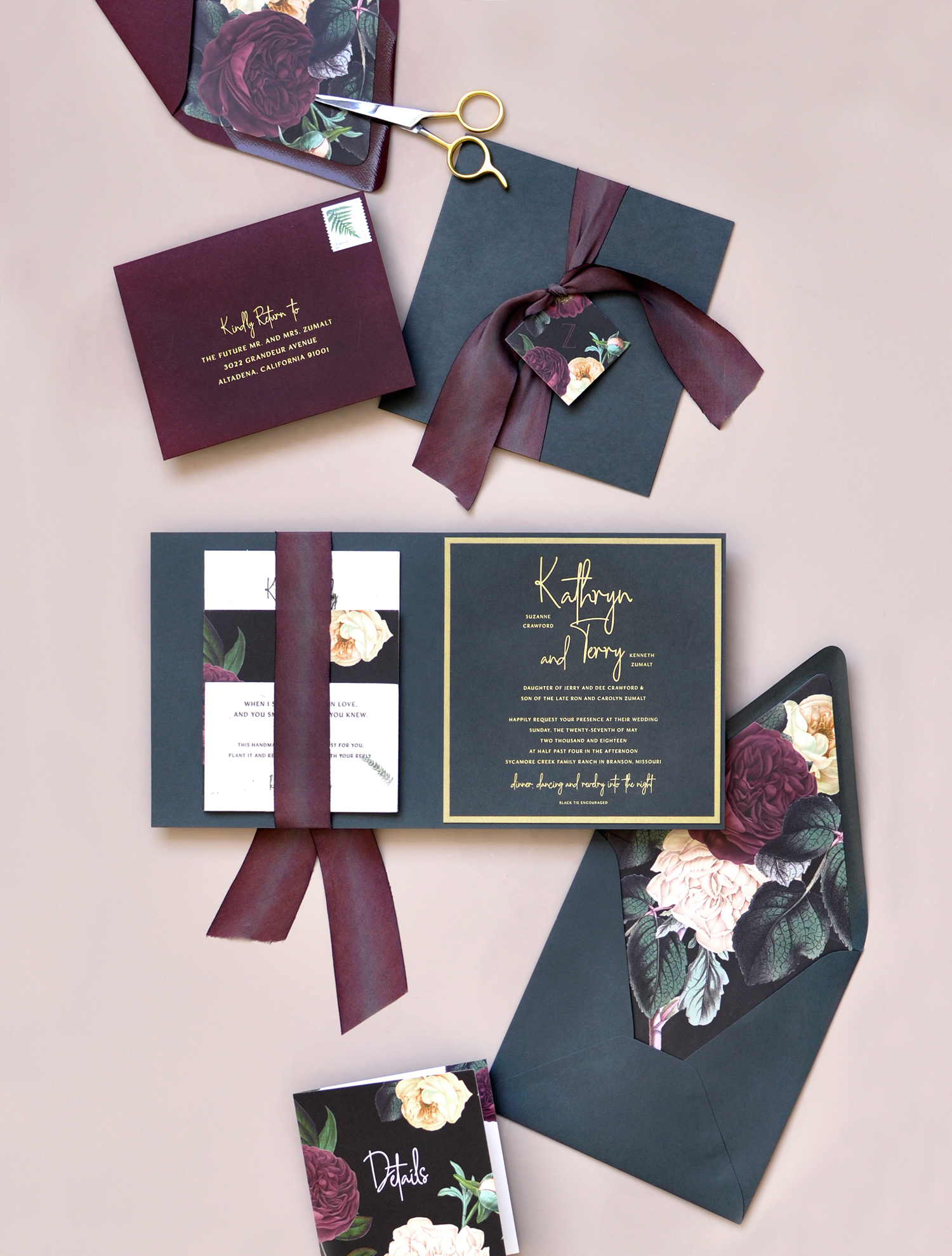 Moody and Glam Romantic Wedding Invitations by Smitten on Paper