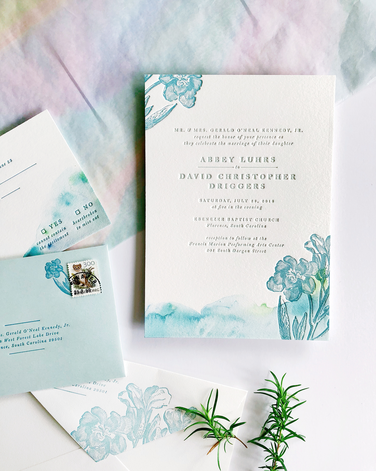 Aquamarine Watercolor and Letterpress Wedding Invitations by Iris and Marie Letterpress