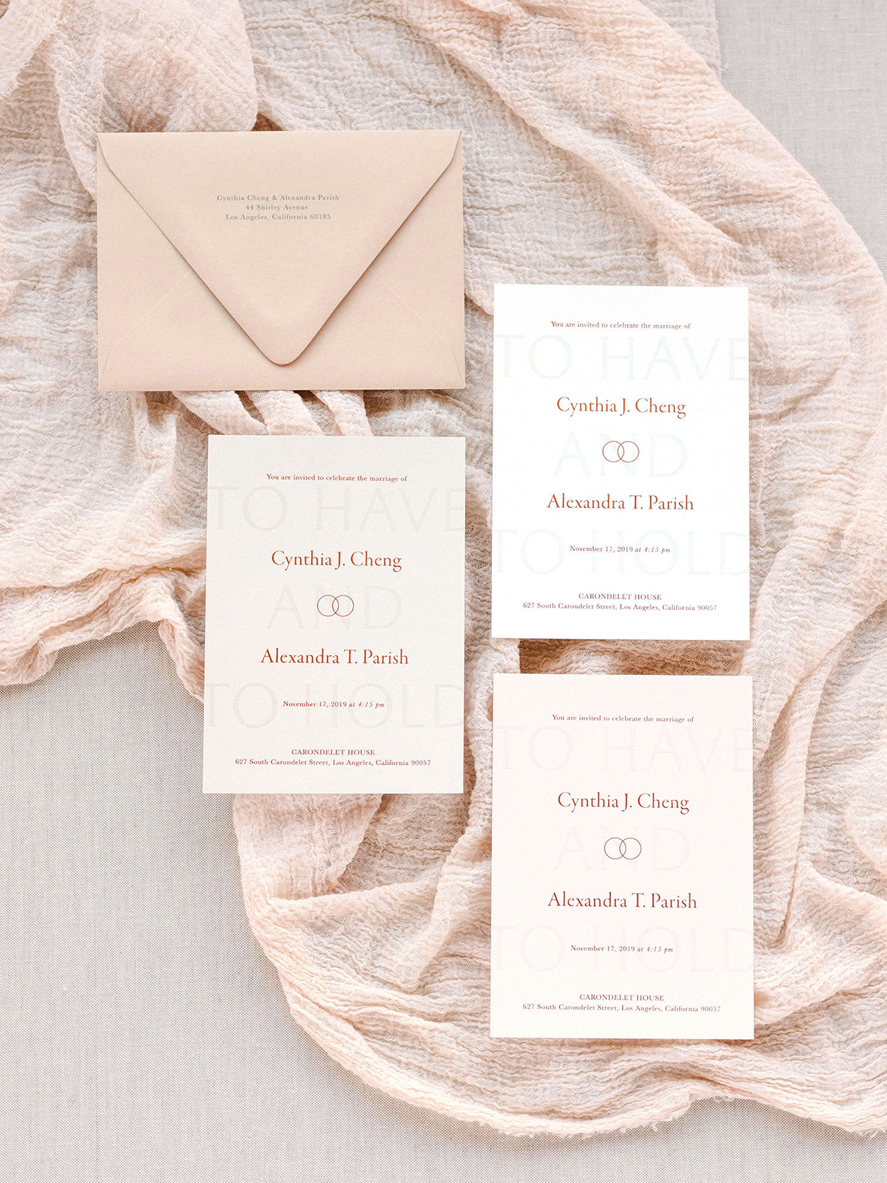 Neutral Modern Minimalist Wedding Invitations by Owl Post Calligraphy