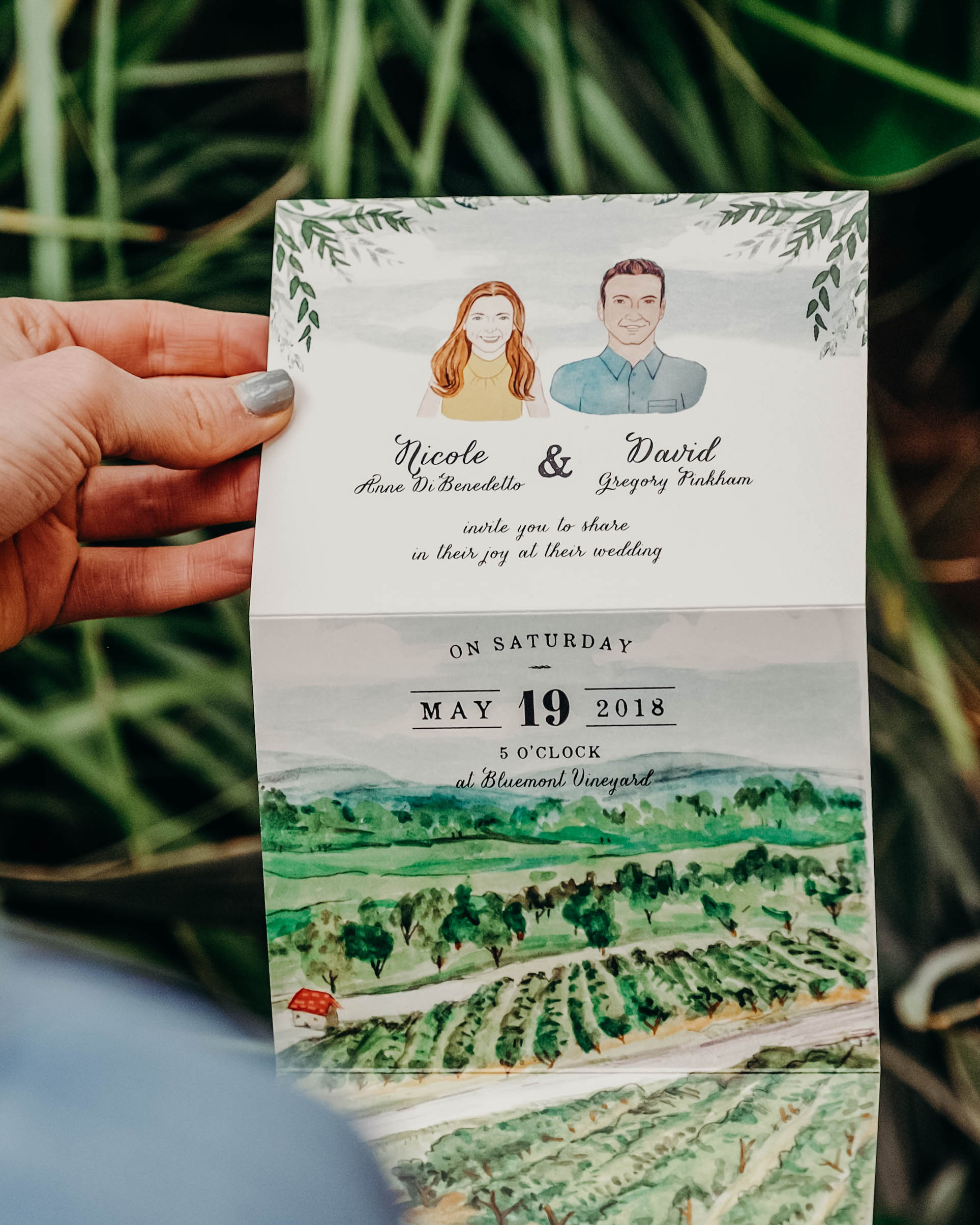 Illustrated Vineyard Wedding Invitations by Wide Eyes Paper Co.