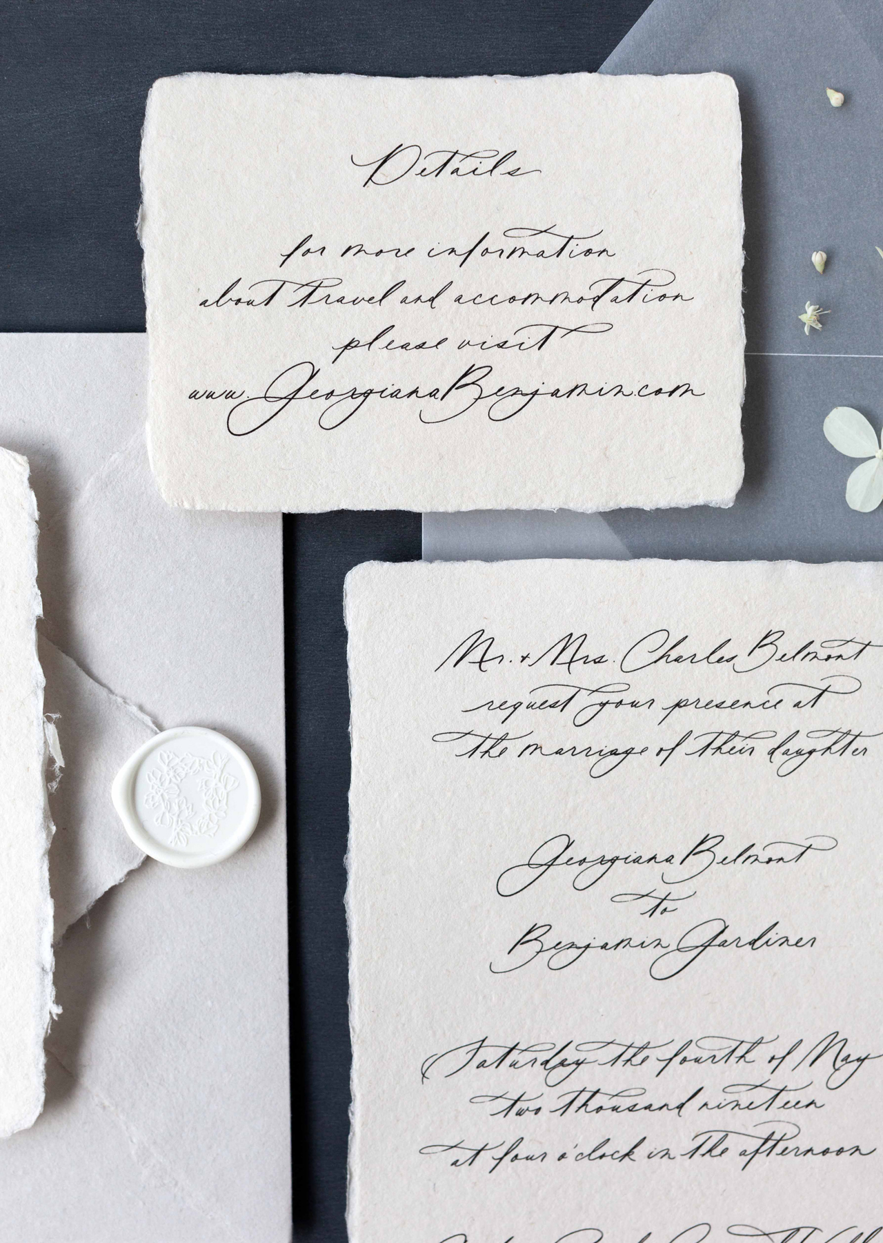 Romantic Calligraphy Wedding Invitations on Handmade Paper by Plume Calligraphy